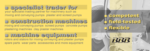 trader for mixing pumps, plastering machines, screed pumps